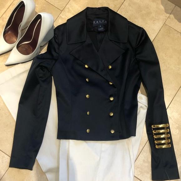 Ralph by Ralph Lauren satin navy jacket 8